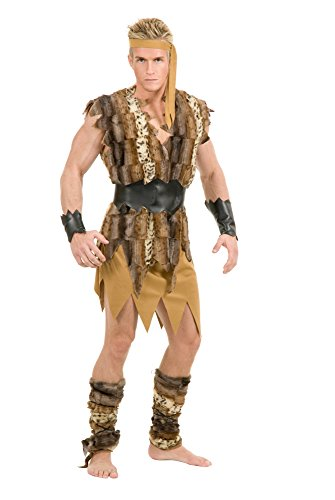 Charades Men's Plus Size Cool Caveman Costume, tan, 1X]()