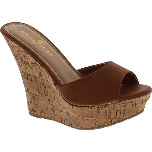 Fashion Focus Womens Ardo-42 Popular Wedge Sandal,Cognac,10