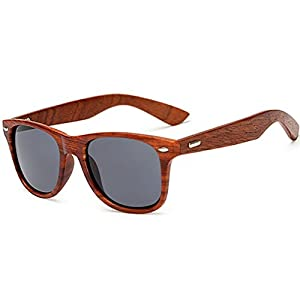 LongKeeper Wood Sunglasses for Men Women Vintage Real Wooden Arms Glasses (Brown, Grey)