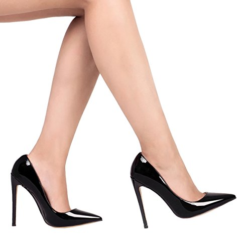 Pictures of Mavirs High Heels Women Pumps Pointed Toe Pt Black 2