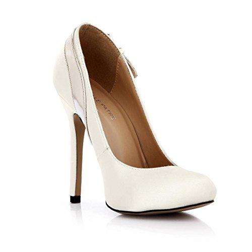 cm redonda de KUKIE primavera Zapatos blanco de suela hebilla mujer zapatos espejo goma bomba Puntera otoño de una Best 4U tacón 12 alto seda sintética PU OXFwqrc4ZO
