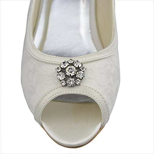 Minitoo GYAYL014R Womens Kitten Heel Open Toe Ivory Satin Lace Evening Party Bridal Wedding Sparkle Shoes Sandals 9 M US