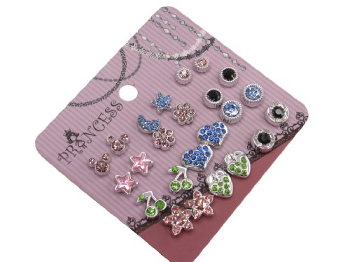 Pack of 12 Color Crystal Magnetic Stud Earrings for Girls Kids [B]