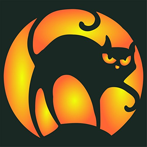 "Halloween Cat Stencil - (size 6.5""w x 6""h) Reusable Wall Stencils for Painting - Best Quality Decor Ideas - Use on Walls, Floors, Fabrics, Glass, Wood, and More…"