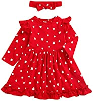 Fasouem A Linen Long Sleeve Ruffled Dress Skirt with Headband for Baby Girl Valentine's Day Clothes for To