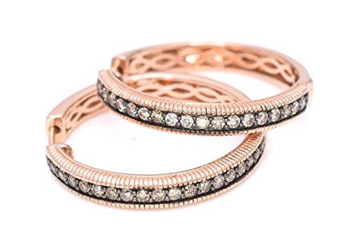 LeVian Hoops Earrings 5/8 ct Chocolate Diamonds 14k Rose Gold 1