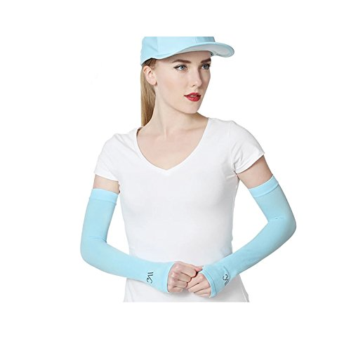 VVCアームスリーブ レディース 冷却 UV保護 カバーアップ スリーブ 保護手袋 ランニング/サイクリング/ハイキング/ゴルフ/運転用 (1組)  ブルー B07Q5P3TDH