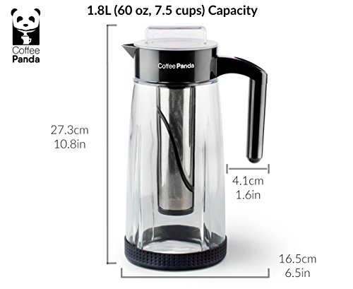 Coffee-Panda-Cold-Brew-Coffee-Maker-18L-60oz-Premium-Glass-Pitcher-with-Reusable-Stainless-Steel-Filter-and-No-Slip-Silicon-Base-Includes-Bonus-Ice-Tube-Chiller-and-Stir-Spoon