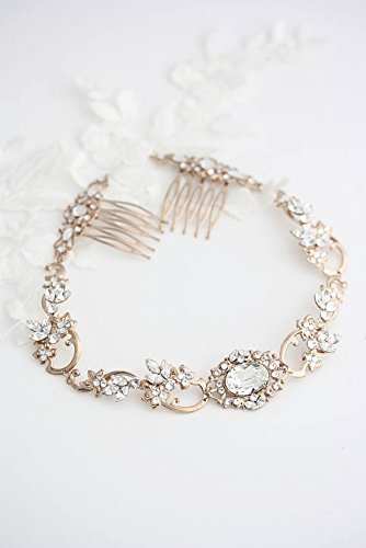 Bridal Halo Headpiece in Rose Gold and Crystal by Lulu Splendor