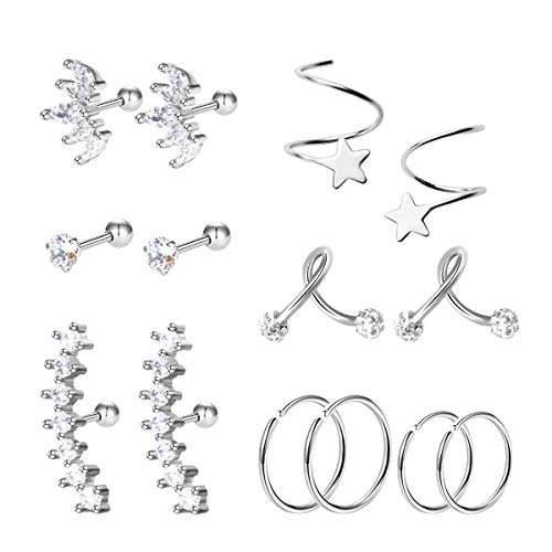 (Stainless Steel Ear Cartilage Earrings - Stylish Silver-tragus helix Toned Piercing Jewelry, Trendy Unique Gift for Girls, Women - Suits any Style at Work, Everyday-wear, Events (7pairs))