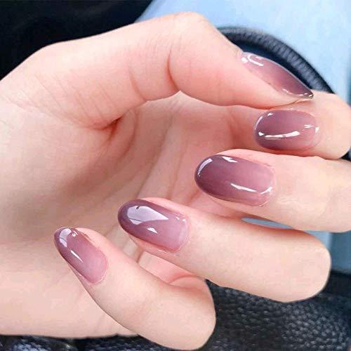 NEW Style Fake Nails, Purple Gradient Short Nail Art Round Head False Nails 24pcs 12 Different Size (Purple Gradient)