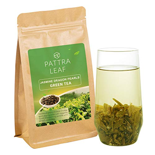 (Jasmine Green Tea with Premium Flavor Organic Loose Tea Dragon Pearls, Scented and Hand Rolled Green Tea with Jasmine Blossoms, 4oz)