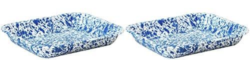 Crow Canyon - Set of 2 Enamelware Large 3 Quart Roasting Pans (Blue Marble)
