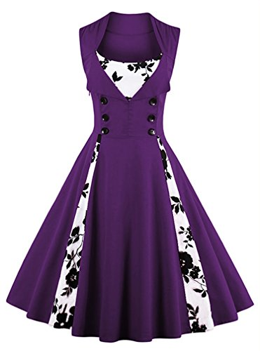 Killreal Women's Vintage Floral Print Sleeveless Casual Rockabilly Cocktail Dress Purple/White Large ()