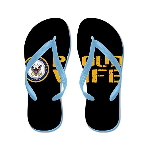 CafePress U.S. Navy: Proud Wife (Black) - Flip Flops, Funny Thong Sandals, Beach Sandals