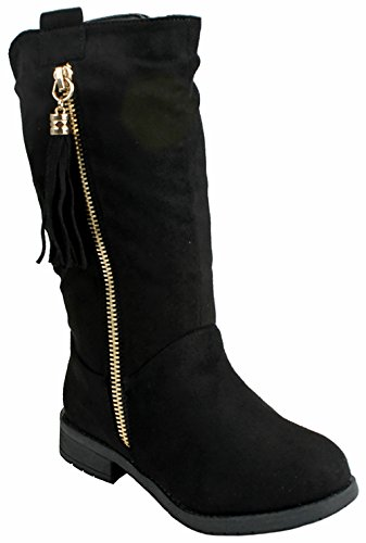 Black Faux Suede Tassel - Kids Girls Black Faux Suede Tassel Decor Dual Buckle Zipper Quilted Mid Calf Motorcycle Boots-13