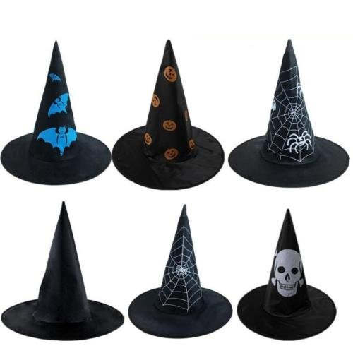 UNAKIM --Adult Ladies Black Witch Fancy Dress Costume Accessory Halloween Witches Hat New
