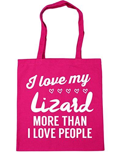 HippoWarehouse I Love My Lagarto más de I Love People Tote Compras Bolsa de playa 42cm x38cm, 10litros fucsia