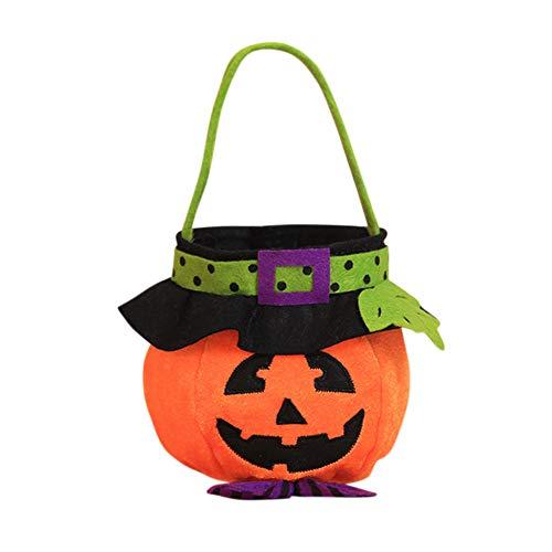 Yiwa Pumpkin Halloween Candy Bag Festival Party Decor Supplies Bucket Gift Handbag C pumpkin]()