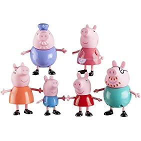 Peppa Pig, Family Figures, 6- Pack Includes Peppa, Granny Pig, Grandpa Pig, Daddy Pig, Mummy Pig and George