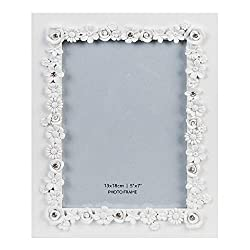 Crystals Studded Matt White Resin Picture Frame