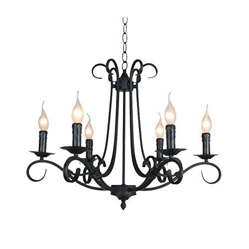 Windsor Home Deco WH-63264-6 Industrial Metal Black Chandelier, 6-Light Pendant Lights Fixture for Dining Room Farmhouse Lighting