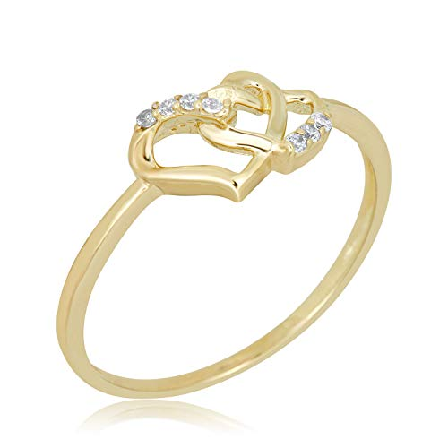 10k Gold Heart Ring - AVORA 10K Yellow Gold Double Heart Ring with Simulated Diamond CZ