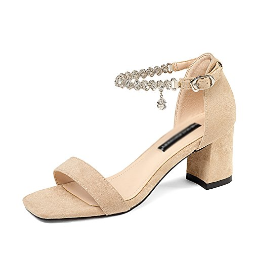 Sandals ZCJB Woman Summer Thick Heel High-Heeled Shoes Word Buckle Wild Women's Shoes Apricot