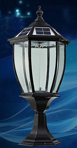 The Round Extra Large Solar Post Cap Lights or Solar Pillar, Diameter: 9.8 Inch; Height: 20.5 Inch. Solar Powered Post Caps. Elegantly Designed Solar Light Post Caps (New Metal Black) by Smart Light (Image #6)