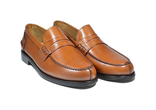 Saxone Of Scotland mocassino college loafer cuoio anticato fondo cuoio