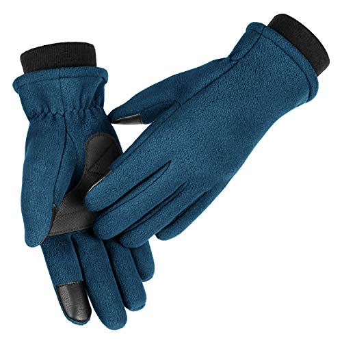 OZERO Winter Running Gloves for Women Touch Screen Thermal Polar Fleece Hands Warm in Cold Weather Medium Navy Blue