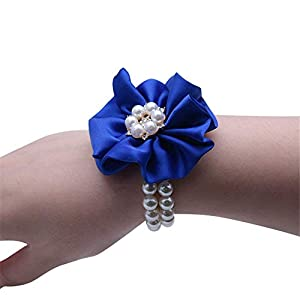 Flonding Wedding Bridal Wrist Corsage Bride Wrist Flower Corsages Pearl Stretch Bracelet Wristband for Girl Bridesmaid Prom Homecoming Hand Flowers Decor (Royal Blue, Pack of 2) 86