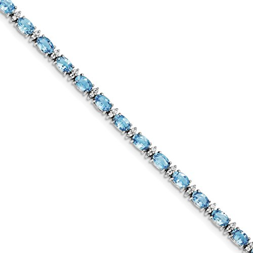 ICE CARATS 925 Sterling Silver Swiss Bt White Topaz Bracelet 7.50 Inch Gemstone Fine Jewelry Gift Set For Women Heart by ICE CARATS