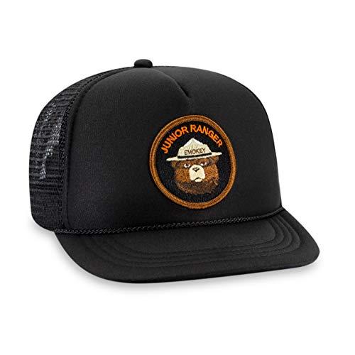 Haka Hat Kids Size Smokey The Bear Junior Ranger Foam Mesh Trucker Baseball Cap - Child Youth Size - Snapback Black