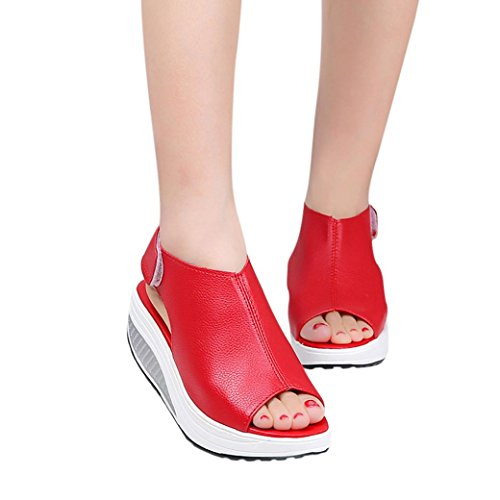 Outsta Fashion Women Shake Shoes Summer Sandals Fish mouth Thick Bottom Higt Heel Shoes (Red, US:8)