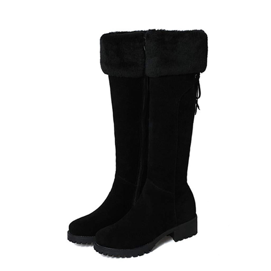 Black Fay Waters Women's Nubuck Leather Warm Knee-high Boots Fur Chunky Mid Heel Round Toe Winter Snow Booties