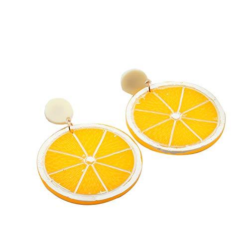 JOYID Sweet Lemon Drop Earrings Japanese Korean Style Cute Lemon Slice Acrylic Plastic Dangle Earrings Fashion Jewelry For Women Girls-Round Slice for $<!--$7.66-->