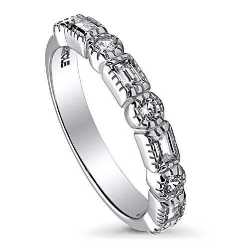 BERRICLE Rhodium Plated Sterling Silver Cubic Zirconia CZ Art Deco Half Eternity Ring Size 6 - 3 Stone Half Bezel