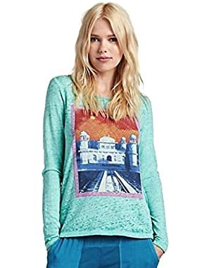 Women's Open Back Long Sleeve Taj Mahal Slub Tee