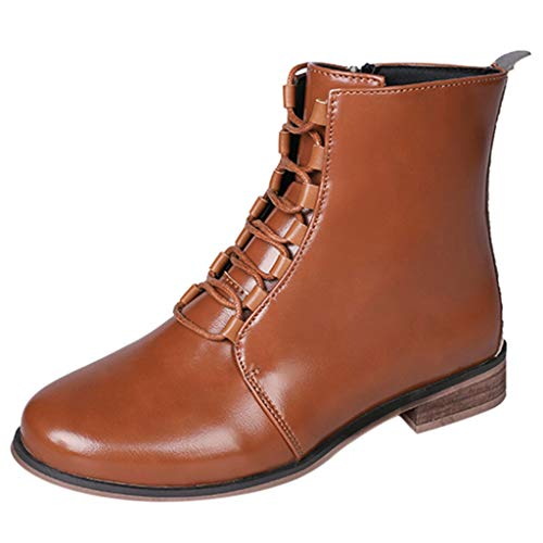 Women Fashion Leather Roman Riding Cowboy Ankle Shoes, NDGDA Ladies Short Boots (Brown, ()