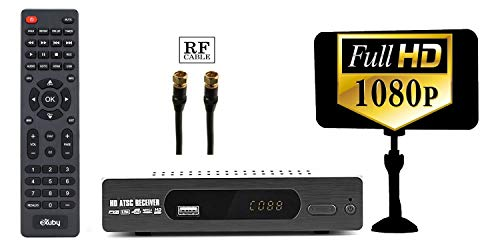 Exuby Digital Converter Box, Antenna, RF Cable for Recording & Viewing Full HD Digital Channels for Free (Instant & Scheduled Recording, 1080P HDTV, HDMI Output, 7 Day Program Guide & LCD Screen)
