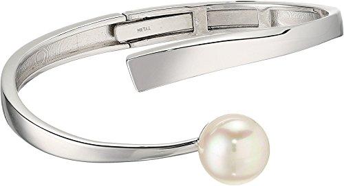 Round Pearls Bracelet Bangle (12MM White Round Sterling Silver Wave Bangle Bracelet)