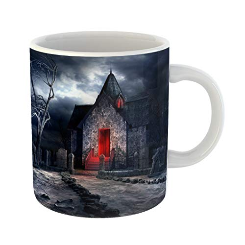(Emvency Coffee Tea Mug Gift 11 Ounces Funny Ceramic Halloween Dark Gothic Scenery Old Crypt Creepy Tree and Bones Cemetery Gifts For Family Friends Coworkers Boss)