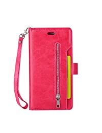 iPhone 7 Plus Phone Case, TechCode Retro PU Leather Wallet Folio Flip Protective Case Cover with Card Slots & Hand Strap Magnetic Closure Anti-Scratch Sleeve for 5.5 inch iPhone 7/8 Plus (Hot Pink)