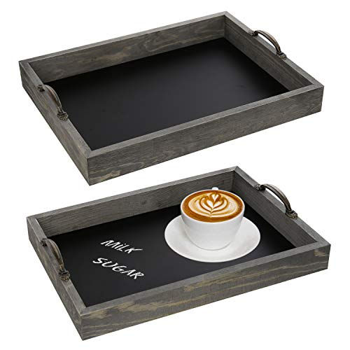 MyGift Set of 2 Nesting Vintage Gray Wood Chalkboard Serving Trays (Serving Trays Cute)