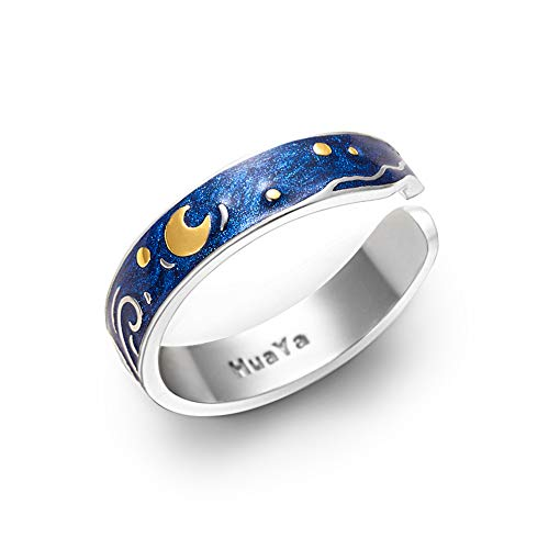 Thaya S925 Sterling Silver Rings Van Gogh's Sky Design Handmade Unique Blue Open Band Ring Promise Ring Size 5-8 Jewelry Gift for Women and Girls