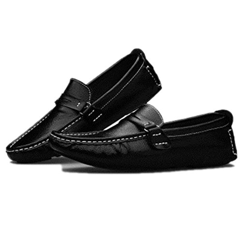 Termee Men Loafer Shoes Boat Shoes Peas Shoes Slip On Flats Walk Drive Moccasins Black 11