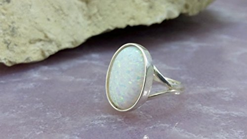 (Opal ring,white opal ring,statement oval ring,sterling silver ring,opal jewelry,cocktail ring,handmade ring)