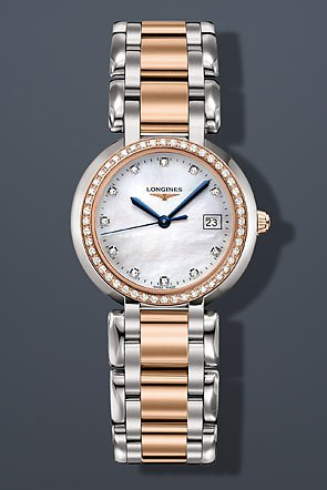 Longines-Prima-Luna-in-Steel-and-Gold-Mother-of-Pearl-Dial-Diamond-Markers-and-Diamond-Bezel-Womens-Watch