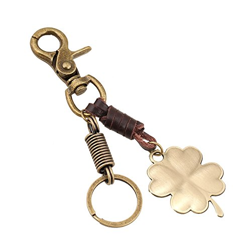 (Jzcky Shzrp Retro Zinc Alloy and Leather Four-Leaf Clover Keychain)